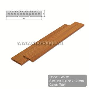 Tấm ốp gỗ nhựa Tecwood TWZ72 màu Teak